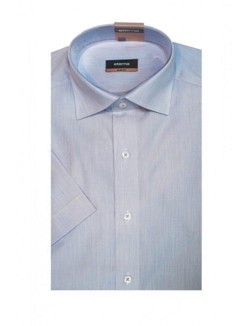 Шведка приталенная (Slim Fit) голубая с коротким рукавом