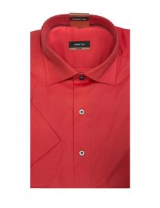 03-8722-G177-51 (2) Шведка приталенная (Slim Fit) красная с коротким рукавом
