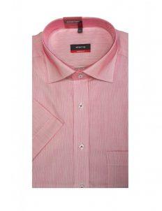 Шведка прямая (Modern Fit) розовая текстурная с коротким рукавом