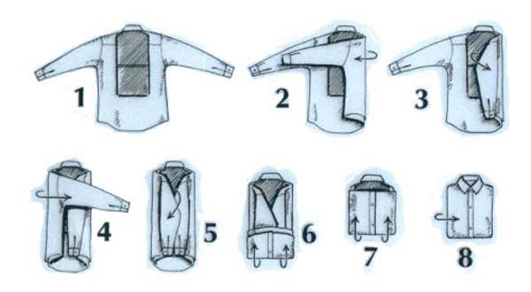 Традиционный метод сложить рубашку с длинным рукавом