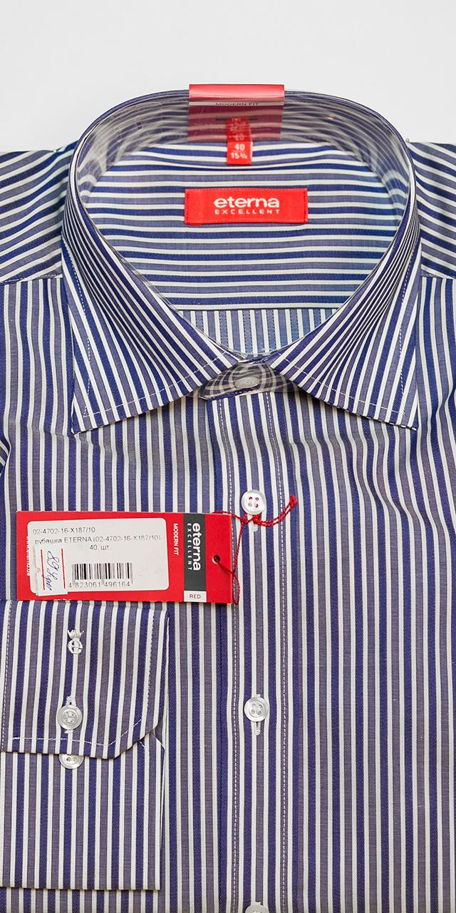 7943a0a53e807ef Синяя в полоску мужская рубашка с длинным рукавом 02-4702-16-X187/10 -  купить в интернет-магазине Eterna в Украине