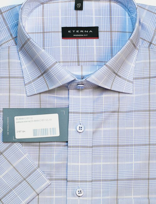 Рубашка в клетку с коротким рукавом 100% хлопок