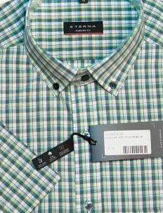 Рубашка с коротким рукавом в клетку серо-зеленая 100% хлопок