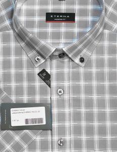 Серая клетчатая рубашка с коротким рукавом 100% хлопок
