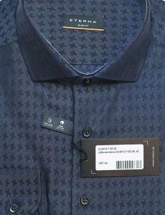 Рубашка Slim Fit синяя с длинным рукавом 100% хлопок