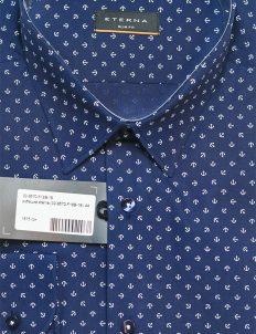 Мужская рубашка приталенная синяя с якорями 100% хлопок