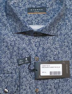 Рубашка синяя с принтом приталенная 100% хлопок