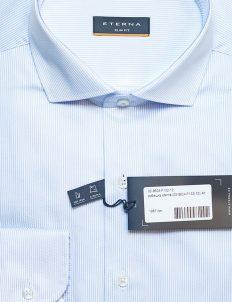 Мужская рубашка голубая в полоску Slim Fit 100% хлопок