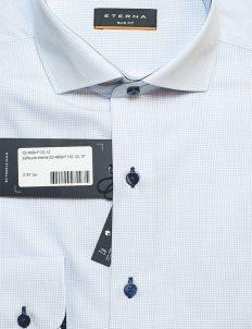 Мужская рубашка белая в мелкую клетку приталенная 100% хлопок