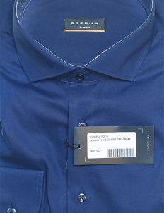 Мужская рубашка синяя Slim Fit 100% хлопок