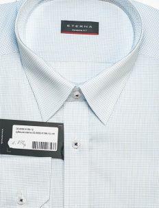 Мужская рубашка белая в клетку Modern Fit 100% хлопок