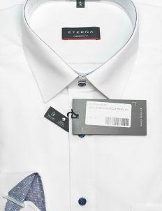 Белая рубашка с длинным рукавом полуприталенная 100% хлопок