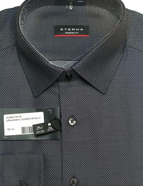Рубашка черная с орнаментом прямого кроя 100% хлопок