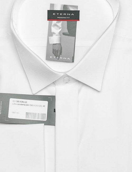 Мужская белая рубашка прямого кроя 100% хлопок