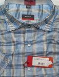 Рубашка с коротким рукавом в клетку голубая 100% хлопок