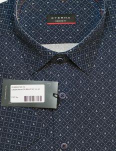 Черная рубашка мужская с коротким рукавом с рисунком 100% хлопок