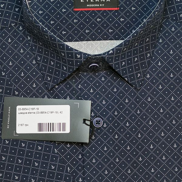 62a17fa08f6f71b Черная рубашка мужская с коротким рукавом с рисунком 03-8954-C19P-19 ...