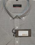 Мужская рубашка с коротким рукавом в клетку коричневая 100% хлопок
