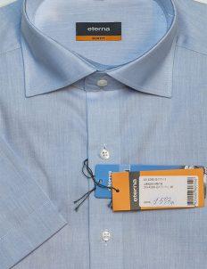 Рубашка голубая приталенная с коротким рукавом 100% хлопок