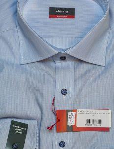 Голубая рубашка с длинным рукавом прямого кроя 100% хлопок
