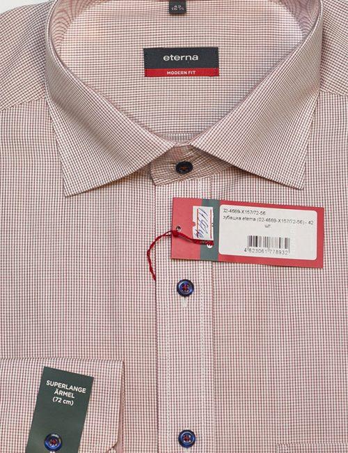 Мужская рубашка в клетку красная 100% хлопок