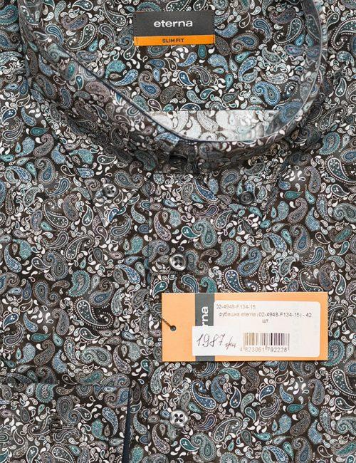 Рубашка коричневая с рисунком приталенная 100% хлопок