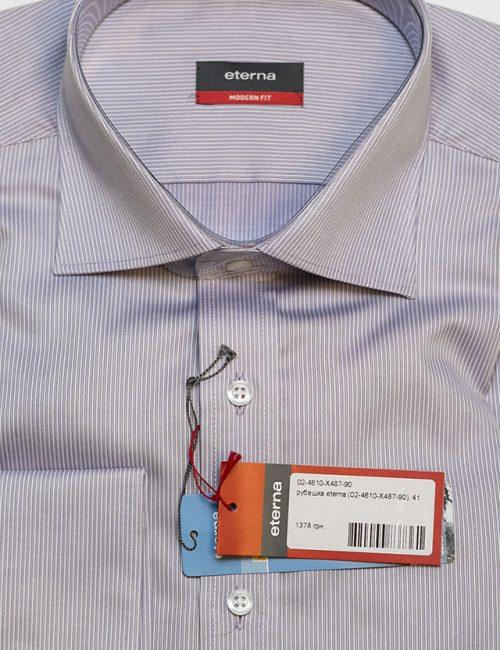 Мужская рубашка в полоску классического кроя 100% хлопок