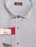 Белая в голубую и коричневую полоску 100% хлопок