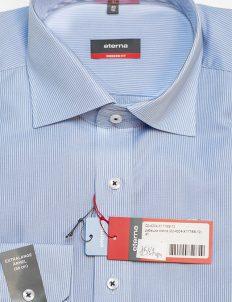 Голубая в полоску мужская рубашка с длинным рукавом 100% хлопок