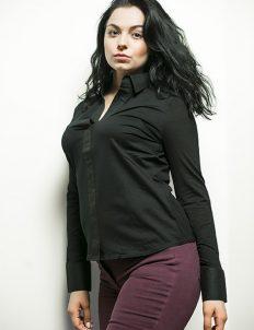 Женская черная блузка кроя объемный модерн 95% хлопок 5% эластан