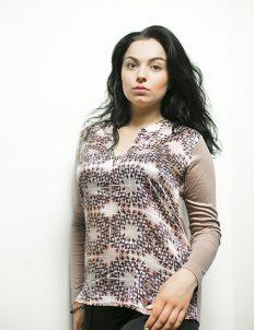 Женская блузка с принтом молочного цвета 55% хлопок 45% шелк