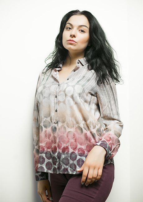 Цветная блузка с принтом в горошек 100% вискоза