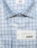 Голубая рубашка в легкую сеточку прямого кроя 100% хлопок
