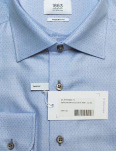 Голубая рубашка в черную точку modern fit 100% хлопок