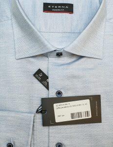 Голубая modern рубашка 100% хлопок