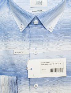 Приталенная мужская рубашка голубая 65% лен/35% хлопок Лен/Хлопок