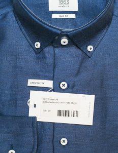 Синяя слим фит рубашка 65% лен/35% хлопок Лен/Хлопок