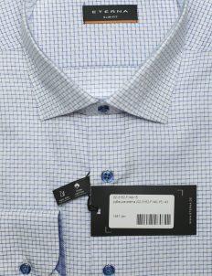 Slim Fit рубашка голубая с руковом на пуговицах 100% хлопок