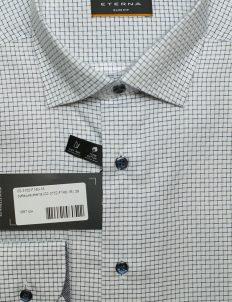 Белая рубашка приталенная в клетку со стандартным рукавом 100% хлопок