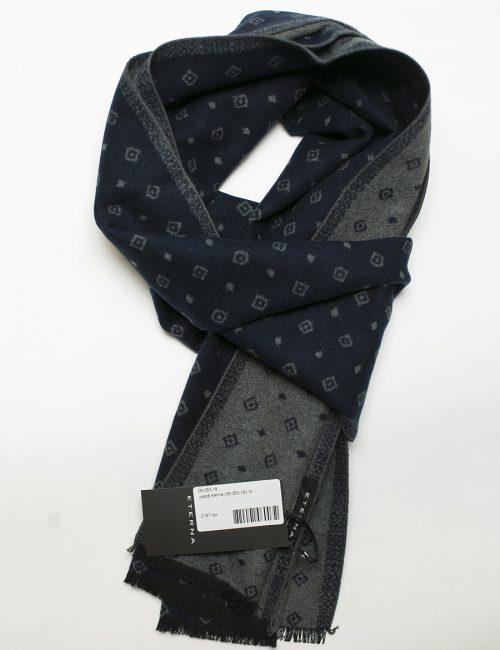 Черный шарф черно-серый с принтом ромб 100% шелк