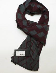 Бордовый шарф с серым принтом 100% шелк