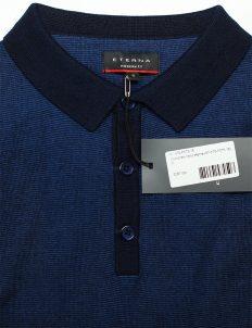 Синяя футболка поло трикотах 100% хлопок