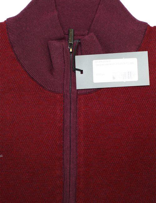 Красная трикотажная кофта на замке с высоким горлом 55% шерсть