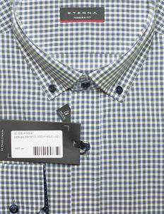 Серая в клетку рубашка для мужчин с длинным рукавом 100% хлопок
