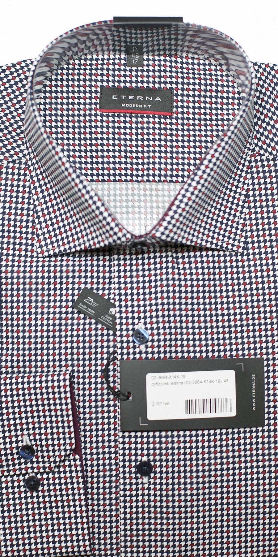 7aa8cc01287c117 Красная класическая рубашка с принтом 02-3664-X14K-19 - купить в  интернет-магазине Eterna в Украине