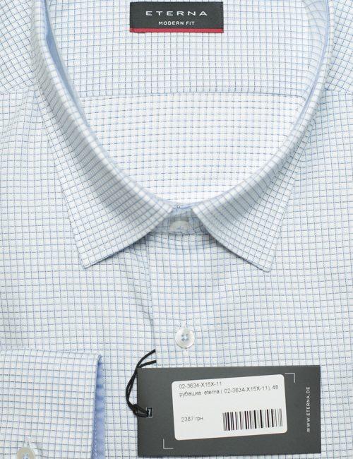 Белая рубашка в мелкую клетку с длинным рукавом классическая