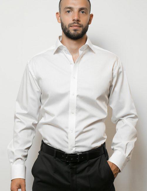 02-4159-X177-00 (1) Мужская рубашка прямая (Modern Fit) белая текстурная со стандартным рукавом