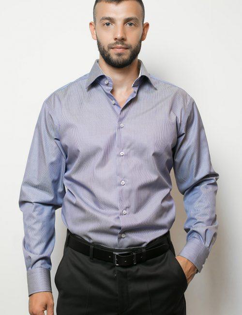 02-4507-S647-19 (1) Мужская рубашка прямая (Modern Fit) голубая в полоску со стандартным рукавом