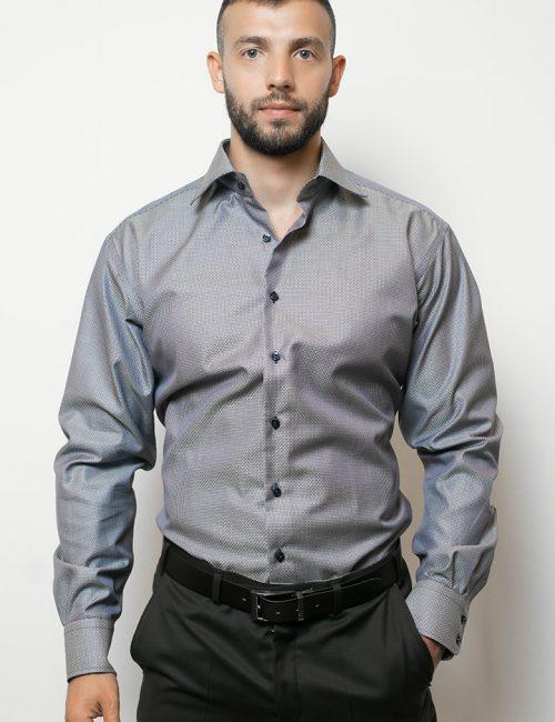 02-4510-S687-19 (1) Мужская рубашка прямая (Modern Fit) синяя с принтом со стандартным рукавом