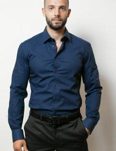 02-4677-F14B-19 (1) Мужская рубашка приталенная (Slim Fit) синяя со стандартным рукавом